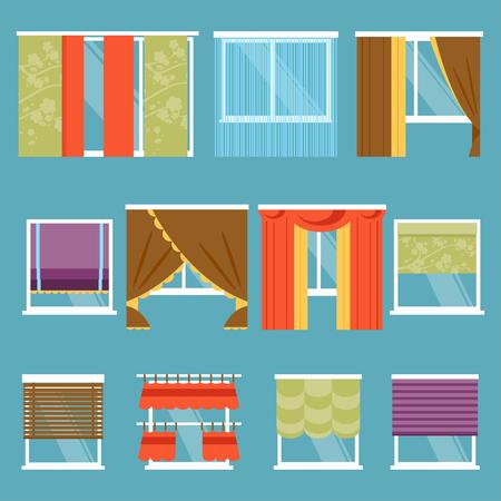 Illustration von Gestaltungsmöglichkeiten und Arten von Fenstern Gardinen Standard-Bild - 50571969