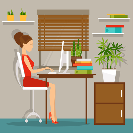 woman sitting: Illustration of a business woman in the office at the computer Illustration