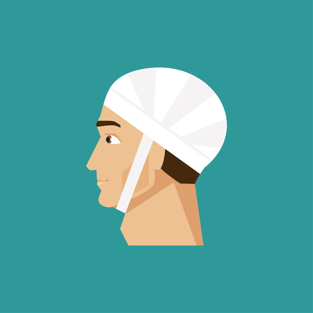 sick people: Illustration of a man with a bandaged head Illustration