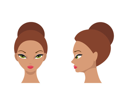 face illustration: Portrait of a young woman at the front and the side