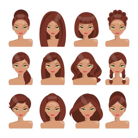 Colección de las niñas con diferentes peinados sobre un fondo blanco Ilustración de vector