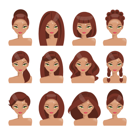 girl short hair: Collection of girls with different hairstyles on a white background