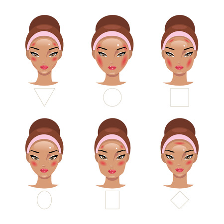 blush: Correct application of blush for different types of faces