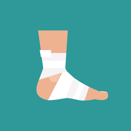 foot doctor: Illustration of a bandaged foot on a blue background