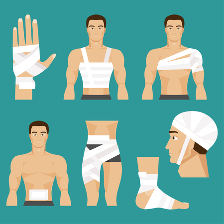 injuries: Illustration of a man with a bandaged head, shoulder, chest, abdomen, leg, hand