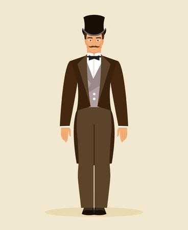 hombre con sombrero: El hombre en el traje y el sombrero histórica del siglo XIX