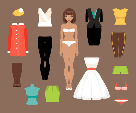 paper dresses: Illustration of a paper doll with different clothing styles