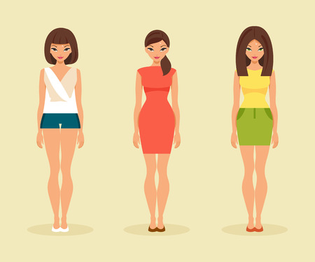 young woman: Three trendy girls in contemporary summer clothes