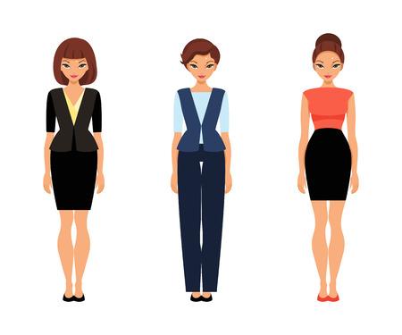 Set von Frauen in der Bürokleidung. Vorlage Papierpuppe