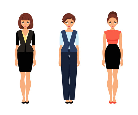Set of women in office clothes. Template paper doll