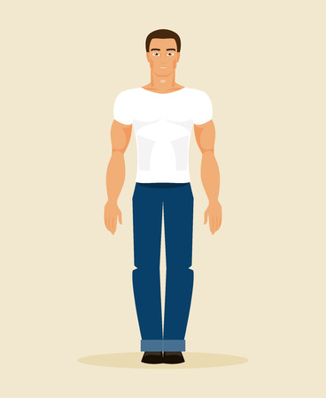 cool man: Illustration of a young man in modern casual clothing