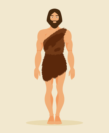 Illustration of an ancient prehistoric man of the Stone Age Stock Illustratie