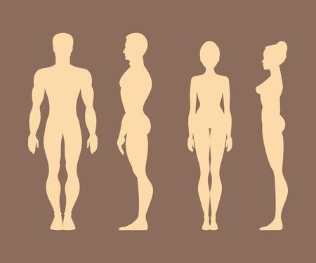 siluetas mujeres: Siluetas de hombres y mujeres en el frente y de perfil