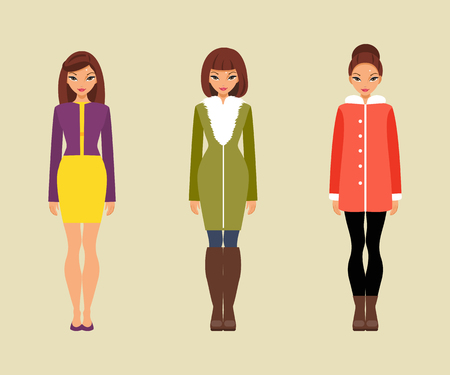 outer clothing: Three trendy girls in warm outer clothing
