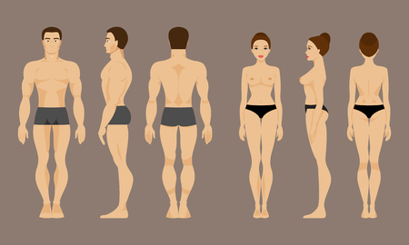 boy body: Male and female anatomy. Front, back and side views
