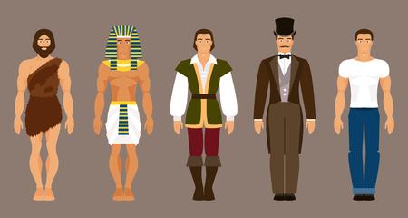 歴史と人類の進化。原始人、古代エジプト、中世、現代の男
