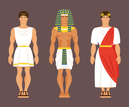 Ancient Greek, Egyptian and Roman in national costumes