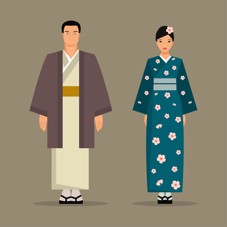 asian couple: Japanese man and woman in traditional costumes
