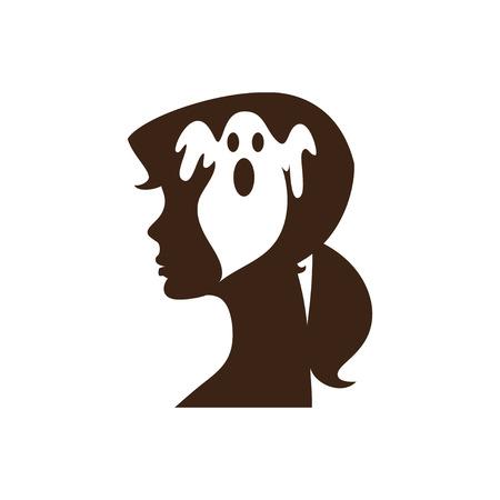 mente: El miedo PhobiaIllustration de la cabeza de una niña con trastorno de la conciencia y la fobia