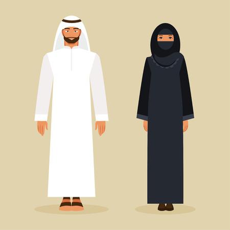 アラビア語の伝統的な民族衣装の男女