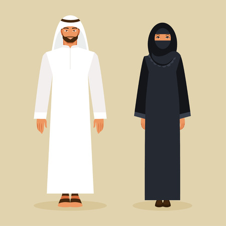 saudi: Arabic man and woman in traditional national costume
