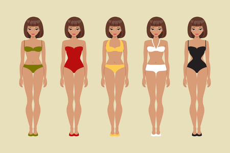 bikini top: Girl bathing suits of different types. Paper doll template Illustration