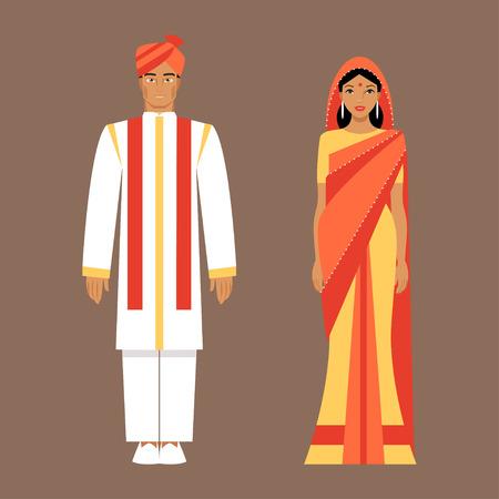 Indiase man en vrouw, gekleed in klederdracht. Indische bruid en bruidegom Stock Illustratie