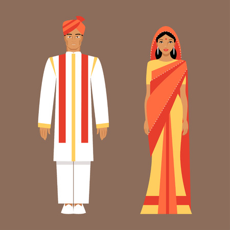 Indian man and woman wearing national costumes. Indian bride and groom