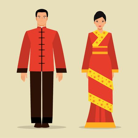 Chinese man en vrouw in traditionele klederdracht Stock Illustratie