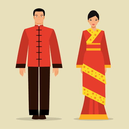 Chinesischer Mann und Frau in der traditionellen Volkstracht Vektorgrafik