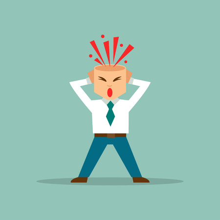 Illustratie van een cartoon zakenman woedend op ontplofte hersenen