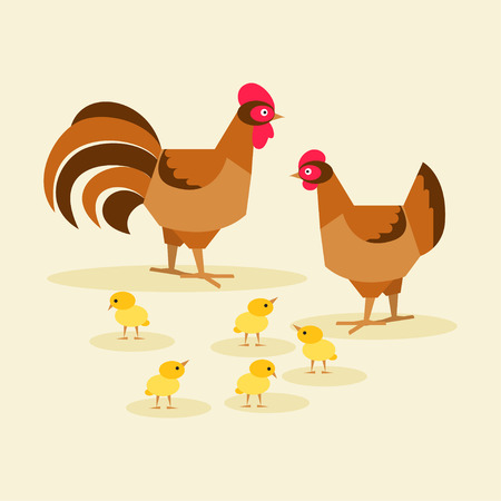 Bird family chicken, rooster and chickens children
