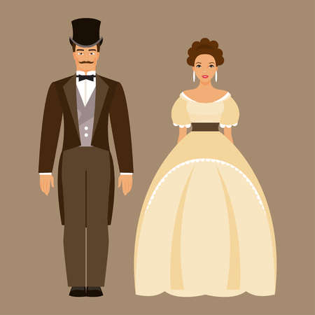 19th century style: Ladies and gentleman. Man and woman in nineteenth century costumes