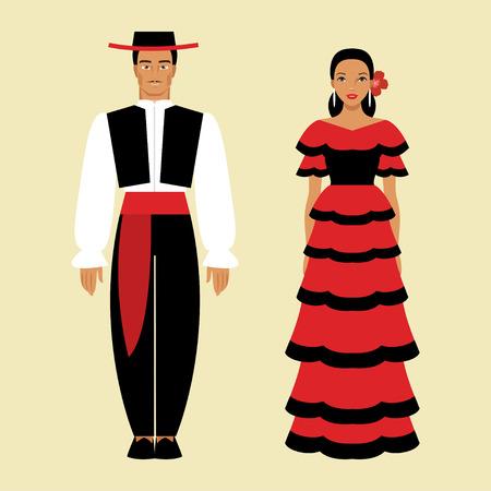 民族衣装でスペイン語の男性と女性のイラスト