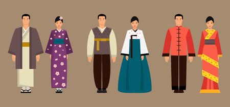Asiatische Männer und Frauen in Nationaltracht von Japan, Korea und China