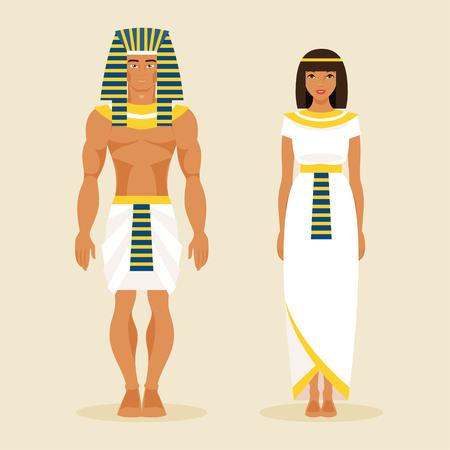 古代エジプトの男性と女性の伝統的な衣装で