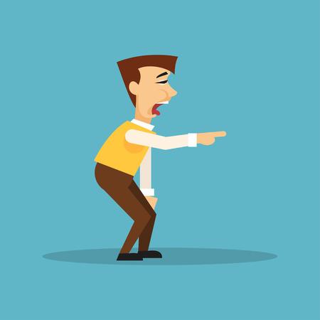 desprecio: Hombre de la historieta burlarse de alguien y muestra un dedo Vectores