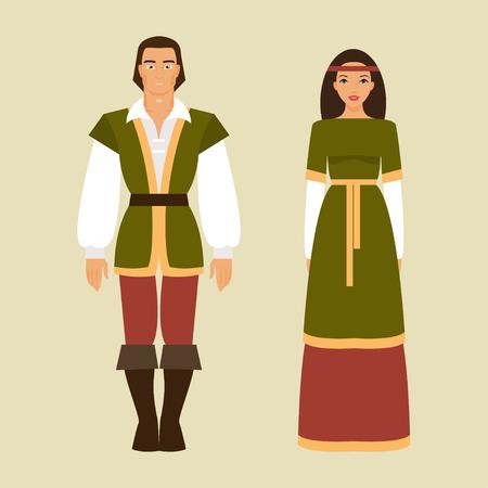Middeleeuwse man en vrouw in historische kostuums