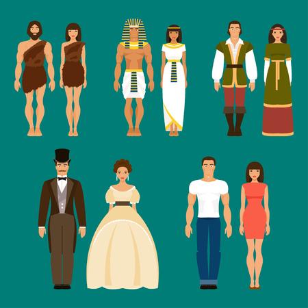 El desarrollo de la humanidad. Los pueblos primitivos, los antiguos egipcios, la gente medieval, gente del siglo XIX y los humanos modernos