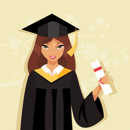 cap and gown: Happy girl graduate in cap and gown holding a diploma Illustration