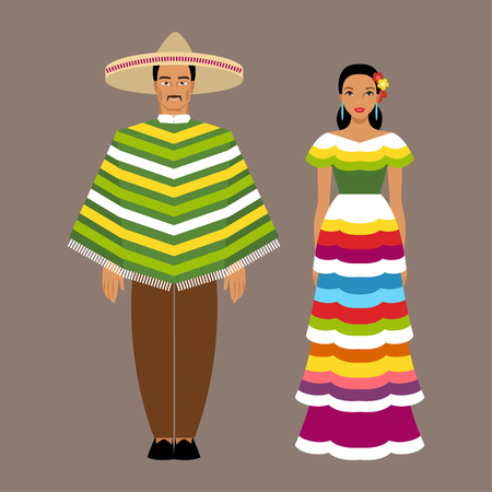 Mexican man and woman in traditional costumes Stock Vector - 53520612