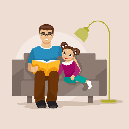 Father and daughter sitting on the couch and read a book. Pope Day