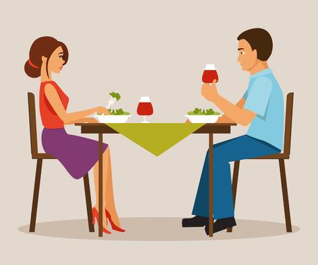 El esposo y la esposa de cenar. Cena familiar. Vegetarianismo Foto de archivo - 56601694
