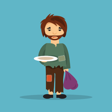 homelessness: Hungry homeless man with an empty plate begging for food. The illustration on a social theme. Illustration