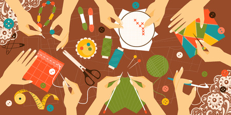 workshop: Illustration kinds of handwork. Workplace. Top view