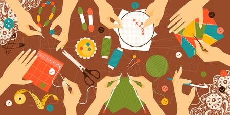 kinds: Illustration kinds of handwork. Workplace. Top view