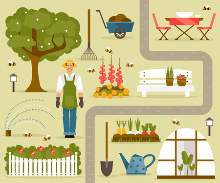 Set of illustrations on the theme of the garden and vegetable garden