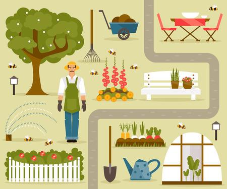 Set von Illustrationen zum Thema des Gartens und Gemüsegarten