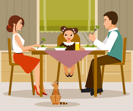 The illustration on a family theme. Mother, father and daughter having dinner in the kitchen.