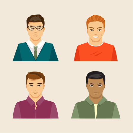 nationalities: Collection of men of different appearance and nationality